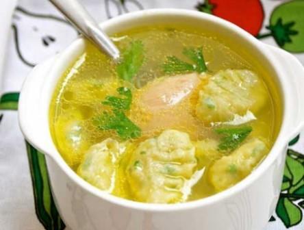 суп с клецками на курином бульоне рецепт