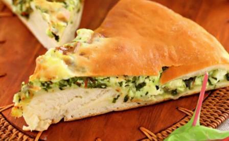 осетинский пирог из листьев свеклы и свежего сыра