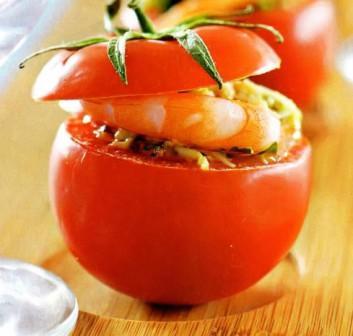 помидоры с сыром и креветками