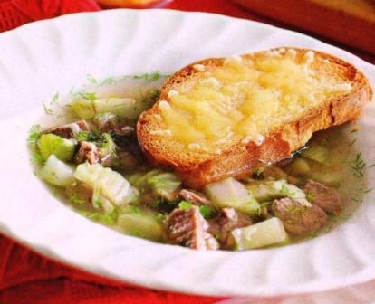 суп из ягненка с фенхелем и сыром